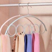 Hangers & Racks 5pcs 5 Hole Ring Scarf Wraps Shawl Storage Hanger Rope Slots Holder Hook Scarves Organizer Ties Belt Rack
