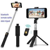 wireless bluetooth remote selfie Monopods stick tripod detachable Foldable adjustable holder stretchable lightweight mini selif tripods