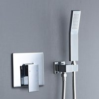 Bathroom Shower Sets Square Solid Brass Hand Held Head With Wall Connector And Hose Set Concealed Chrome Polished Faucet