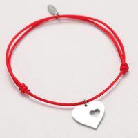 Charm Bracelets Heart Bracelet Men Custom Women Personalized Crown Star Cross Letter Stainless Steel Red Black Rope