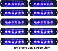 10 stücke Blau Notfallblitzlichter 6-LED Warnung 6-SMD Blinklicht VORSICHT Baulicht Bar Van Off Road Fahrzeug ATV SUV