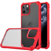 Carbon Fiber Transparent Phone Cases For IPhone 11 12 Pro XS Max XR 7 8 Plus Se2020 Anti-fall Shockproof Protective Cover Shell