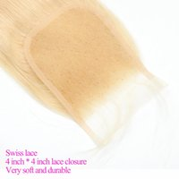 613 Straight Hair Free Part Blonde Bleached Knots Lace Closure 4x4 Malaysian Virgin Human Remy Accessions Pre Plucked
