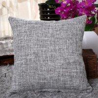 Coussin d'oreiller carré de couleur unie épais de coussin de coussin de tissu de lin de lineux Tampot 45 * 45cm Decor Tickow Case OWD106242