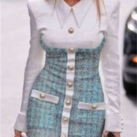 2020 Новый дизайн Европейская мода женская искусственная 2 шт. Поверните рубашку воротника, заплатали твид шерстяной однобортный карандаш Bodycon платье