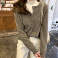 Women's Knits & Tees Korean Fashion Solid Color Retro Cardigan O Neck Loose Long Sleeve Knitted Sweater Preppy Style Fall 2021 Women Warm Cr