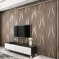 Duvarlar için 3D Çizgili Duvar Kağıdı Rulo Oturma Odası TV Arka Plan Duvar Dekorasyon Kağıt Duvar Kağıtları Ev Dekor Modern Papier Peint