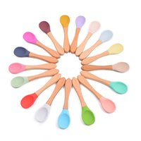 Utensil Baby Silicone Wooden Spoon Feeding Scoop Tableware Cycle Food Grade Ins Dish Plate 3256 Q2