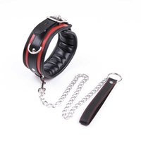 Sex Bdsm Collar Leather And Iron Chain Link bdsm Slave Collars Women Bondage Collar Sex Toys For Couples Adults Sex Restraints Y0406
