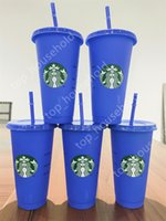 New 24OZ Color Change Tumblers Plastic Drinking Juice Cup With Lip And Straw Magic Coffee Mug Costom Starbucks color changing plastic cup