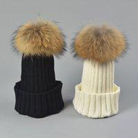 Plain Winter Hat Racoor Dog Fur Ball Men Womens Children Knitted Pom Beanies Kids Fashion Snow Cap Gorro Black Grey Navy Blue Purple Beige White Pink Red 12 Solid Color