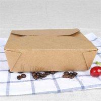 Engångsvaror Miljövänlig matbehållare med lock Brown Papper Lunch Bento Box Microwavable Meal Prep Boxes School Qa9h