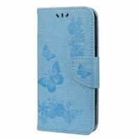 Imprint Butterfly Carteira de couro para Samsung Galaxy X Capa 5 A32 4G A72 A52 A42 A51 A71 A51 Core A21S A81 A91 Flower Phone Card Card Slot Holder Livip Pele