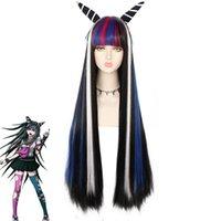 Anime Dangan Ronpa Mioda Ibuki Long Perruque Cosplay Cosplay Costume Danganronpa Résistant à la chaleur Synthétique Cheveux Synthétiques Femmes Cosplay Perruques Décorations