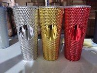 Studded Cold Cup 24oz 710ml Diamond Radiant Goddess Tumblers Double Wall Matte Plastic Tumbler Coffee Mug With Straw Custom LOGO Accpet WLL1063