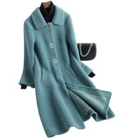 Women's Fur & Faux 2021 Real Sheep Wool Long Coat For Women Button With Turn Down Collar Overcoat Drop Ladies Jackets