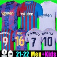 Camisetas de Football Memphis Pedri Kun Aguero Soccer Jersey 21 22 Ansu Fati 2021 2022 F. de Jong dest kit قميص الرجال الاطفال مجموعات ميسي dembele braithwaite الأعلى