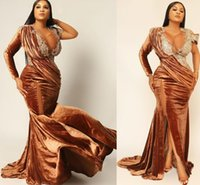 2021 Plus Size Arabic Aso Ebi Sexy Mermaid Velvet Prom Dresses Sheer Neck Lace Beaded Evening Formal Party Second Reception Bridesmaid Gowns Dress ZJ333