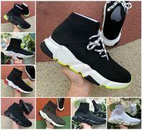 Designer Mens Sock Zapatos Casual Zapatos Plataformas de Zapatillas de deporte de las zapatillas de la velocidad del entrenador de la velocidad para arriba Triple Negro Blanco Neón Amarillo Azul Beige Classic Lurex Knit Jogging Caminando al aire libre