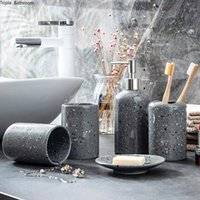 Bath Accessory Set Nordic Style Wash Ceramics Five Piece Gargle Cup Toothbrush Holder Soap Dispenser Tray El Bathroom Decor