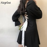 Casual Dresses Neploe Lace Up Backless Pleated Dress Elegant Vintage Puff Sleeve Short Women Ruched Square Collar Party Ladies Vestidos