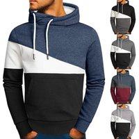 Men's Hoodies & Sweatshirts Men Patchwork Hooded Sweatshirt Clothing Casual Loose Fleece Warm Streetwear Male Fashion Autumn Winter Outwear