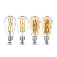 전구 ST64 12W 16W Edison LED 필라멘트 전구 램프 220V E27 빈티지 골동품 레트로 160W 백열등 장식
