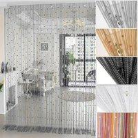 100*200cm Crystal Beads Tassel Silk String Bead Curtain Door Divider Drape Sheer Panel Curtains Living Room Decor Valance