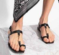 "YSL""Summer Women Cassandra-leather sandals Luxurious lady flat sandalies Beach shoes Woman Shoe Footwear Gladiator Open Toe Slides Zmt"