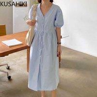 Summer Blouse Dress Delle Donne Single Breasted Collo V Collo Vestidos Femme Sfuff Abiti Causal Manica corta 6G711 210603