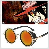Accesorios de vestuarioAnime Hellsing Alucard Cosplay Glasses Vampire Hunter Gafas de sol Naranja Hombres Mujeres Punk Gafas Hellsing Cosplay Prop