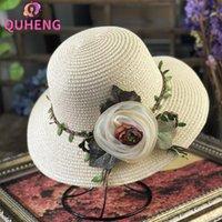 Large Bronge Chapeaux Quheng Femme Chapeau Fashion et élégant corde de feuilles de la jaune de la corde de fleur de fleur de la balle balnéaire plage idyllique sortie soleil m177