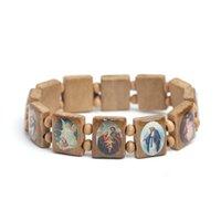 Gioielli cattolici in legno naturale cristiana Gesù fede rosario braccialetto gioielli religiosi