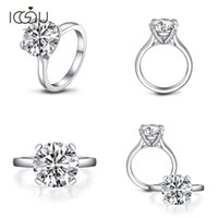 IOGOU Silver 925 Rings Women Engagement Jewelry 3. 5 Carats R...