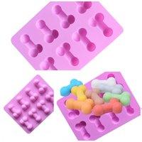 Originalidad Molde de silicona Moldes de cubitos de hielo Divertidos moldes de chocolate Taste Pastel Decoración Suministros Verde DIY Verano FWF7610
