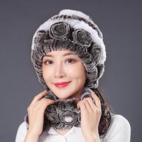 Hats, Scarves & Gloves Sets Winter Knitted 100% Natural Fur Hats Women Warm Real Rex Hat Scarf Lady Fashiom Thick