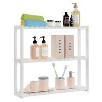 3-уровня бамбуковая ванная комната полка, настенная утилита для утилигов Организатор с регулируемым слоем для кухонной гостиной, белый