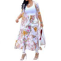 Verano 2 pieza Set Mujer Cardigan Tops largos Tops y Bodycon Pantazo Traje Casual Ropa Boho Sexy Dos piezas Trajes 2021
