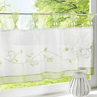 Moderne Short Window Cuisine Tulle Voile Rideau pour le salon Home TRANSPARENT Rideau Sheer Rideau Window Voie