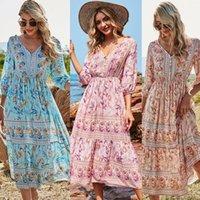 Casual Dresses 2021 Summer Beach Dress Women Floral Print Boho Long Chiffon Ruffles Wrap V-Neck Sexy Elegant Holiday Style