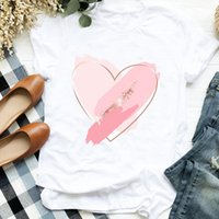 Women's T-Shirt Women Heart Love Fashion Clothing Print Tee For T Shirt Female Top Graphic