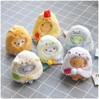 6pcs / lot 10cm san-x 봉제 장난감 인형 Sumikko 구라시 작은 펜던트 배낭 펜던트 달콤한 선물 키 체인 HWF7726