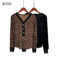 Jcgo 2021 Frauen Bluse Sexy Leopard Print Shirt mit Knopf Spitze Langarm V-Ausschnitt Top Lose Lässige Blusen Hemd