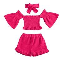 Clothing Sets 1-6Y Summer Kids Clothes Girls Toddler Baby Off Shoulder Casual Shorts Shirt Headbands 3PCS Costume Set Pour Filles