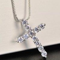 Yhamni Luxus Kubikzircon Kreuz Anhänger Halskette 925 Sterling Silber Kreuz Christian Jesus Schmuck für Frauen Geschenk 228 T2