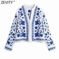 Zevity Donne Vintage V Neck Blu e Bianco Porcellana Camicie da ricamo in porcellana femminile Manica lunga Kimono Camicetta Roupas Chic Tops LS9193