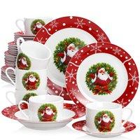 2021 VeWEET 30/60-delig Keramisch porselein Kerst Santaclaus Patroon Gift Servies Servies Set met Cup Saucer Dessert Soep Diner Plaat Set