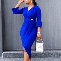 Mulheres Vestidos Três Sleeves Quater Cintura alta V Pescoço Elegante Escritório Senhoras Trabalho desgaste Modest Slim Classy Africano Feminino Vestidos 210303