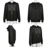 Women's Jackets Women Gothic Punk Drawstring Hoodies Harajuku Rhinestone Breastbone Skeleton Print Sweatshirt Long Sleeve Oversized Loose To