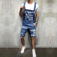 2020 Nuevas Moda Hombres Rompe Jeans Juntsuits Shorts Summer Hi Street Denim angustiado Denim Monos de babero para hombre Pantalones de suspensión